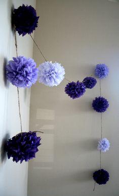 Grape Soda ... diy tissue paper pom garland // nursery // weddings // birthdays // party decorations on Etsy, $20.00