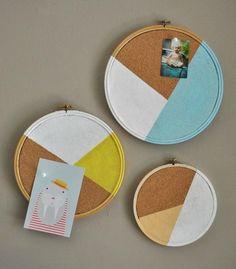 Ces tableaux en liège rond et design, ça change des simples rectangles !   geometric diy frames