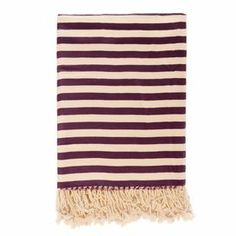 "Crafted from bamboo art silk, this luxurious striped throw transforms your bed into a restful retreat or adds plush comfort to a favorite arm chair.    Product: ThrowConstruction Material: 100% Bamboo art silkColor: PlumFeatures: Elegant hand fringe designDimensions: 50"" x 70"" Cleaning and Care: Dry clean only"