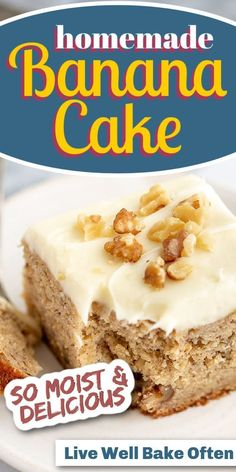 This homemade banana cake from Live Well Bake Often is so easy to make. This cake is delicious, soft, moist, and topped with an easy cream cheese frosting. The perfect from-scratch recipe to use up overripe bananas! Try this delicious cake today! You will be glad you did! Classic Desserts, Sweet Desserts, Delicious Desserts, Baking Recipes, Cake Recipes, Dessert Recipes, Homemade Banana Bread, Baked Oatmeal Cups, Light Cakes