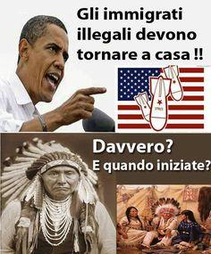 """""""Via gli immigrati illegali, se ne tornino a casa propria! Bellissima vignetta su Obama"""" - thanks to @Alfama_goa"""