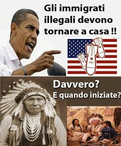 """Via gli immigrati illegali, se ne tornino a casa propria! Bellissima vignetta su Obama"" - thanks to @Alfama_goa"