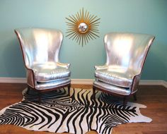 LOVE!!! Vintage HOLLYWOOD REGENCY Pair SILVER Exaggerated Wingback Lounge Chairs