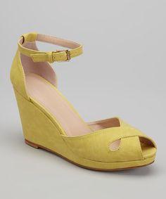 Another great find on #zulily! Mustard Donna Peep-Toe Wedge #zulilyfinds