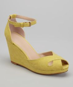 Another great find on #zulily! Mustard Donna Peep-Toe Wedge #zulilyfinds
