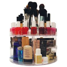 The perfect solution to keeping all your glamour accessories organized and together, this particular rotating cosmetic organizer is a must have. This organizer features a slid out compartment to help remove clutter and spins 360 degrees for convenience.