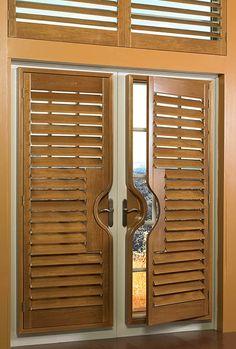 For French doors wood shutters | Interior Barn Doors | Pinterest ...