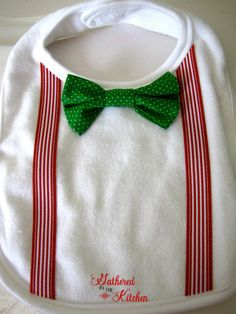 Adorable Boy's Christmas Bow Tie Bib & Girl's Ribbon Christmas Tree Bib by gatheredinthekitchen, $12.00 each