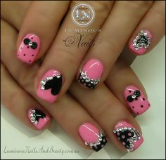 Pink & Black, Hearts, Bows & Polka Dots!... Custom Pink Gel, Mani Q Black 101, Black acrylic 3D Bows, 2D Gel Hearts & Dots, Clear Crystals.