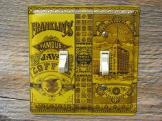 All of my light switch covers are made by hand from advertising tins and baking pans. Most are one of a kind! I encourage special requests and I can make unique and unusual configuration switchplates!  Mustard Decor Kitchen Switch Plates Plate Old Antique Country Lighting Double Lightswitch Cover Made From Franklins Java Coffee Tin SP-0048  STYLE: Double Switch  Wow, when we first found this tin years ago, we thought it was the real thing! A very good reproduction for your country kitchen…