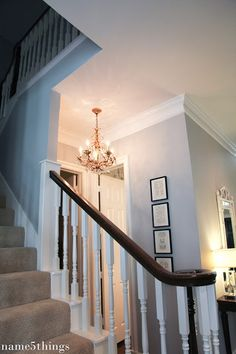 Benjamin Moore Silver Chain. - Main hallways and Upstairs hallway