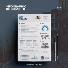 Infographic Resume Vol.1 | Word Indesign and Photoshop Template | Professional and Creative Cv Resume Design | Instant Digital Download
