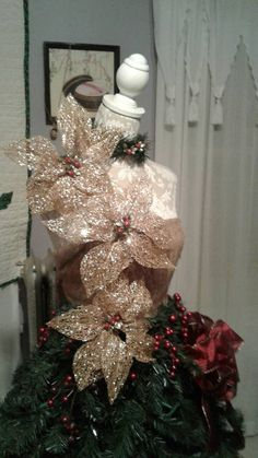 Christmas time all year around. Made to order. Please see pictures for samples. Mannequin Christmas Tree, Dress Form Christmas Tree, Christmas Light Show, Ribbon On Christmas Tree, Cool Christmas Trees, Christmas Tree Themes, Holiday Tree, Christmas Colors, Xmas Decorations