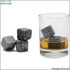 9 Rocks To Chill Gbourbon Etc. Scotch Reusable Granite Whiskey Stones Set