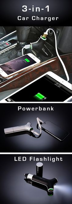 Need to charge multiple devices while on the go? This 3-in-1 wonder does it all—from simultaneously charging 2 devices in your car to also serving as a power bank and bright LED flashlight. The T-Bone Mobile Charger fits any cigarette charger or other 12V socket and also includes a handy power indicator light to let you know how much power you have left. Plus, it includes a matching end cap to make it easy to take with you everywhere you go.
