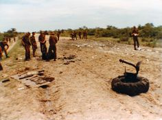 Pieces left from Buffel after hitting a mine
