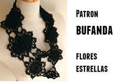 Patrones Crochet: Bufanda flores estrella patron