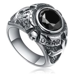 Stainless Steel Cross and Skull W. Black Cubic Zirconia Ring from Arco Iris Jewelry Inc. Saved to Jewelry/Accessories.