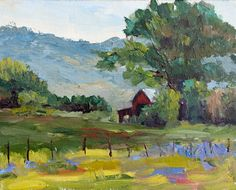Kit Hevron Mahoney Fine Art: KM2515 Springtime in the Country (landscape, barn, countryside, original oil painting)