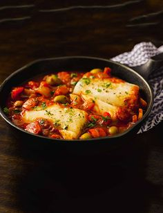Mediterranean cod This is a great quick and easy gluten-free recipe. Ready in just 15 minutes this one-pot fish is great if you need a quick turnaround of an evening. Cod Recipes, Cooking Recipes, Healthy Recipes, Cod Fillet Recipes, Whole30 Recipes, Cooking Videos, Healthy Dinners, Easy Recipes, Snack Recipes