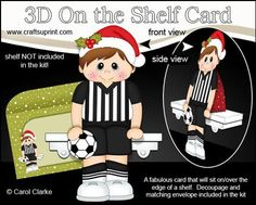 3D On the Shelf Card Kit Little Christmas Footballer Boy on Craftsuprint - View Now!