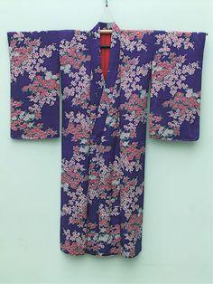 ☆ New Arrival☆ 'Women's #antique #purple #Japanese #silk #kimono with #floral pattern from #FujiKimono