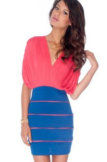 Deborah Combo Dress in Blue and Coral