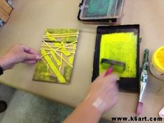 collograph lesson-easy to find materials Middle School Art, Art School, Classe D'art, Stencil, 6th Grade Art, School Art Projects, Kindergarten Art, Art Lessons Elementary, Art Lesson Plans