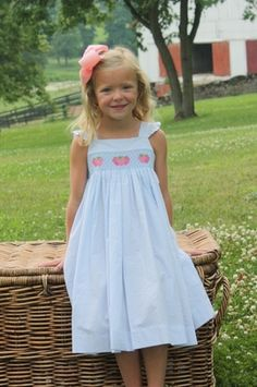 Smocked Lizzy D Dress in Strawberries from Little English