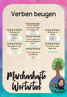 Verben beugen / konjugieren – Wortarten Märchen Notices for bending and conjugating verbs – fairytale parts of speech. French Lessons, Spanish Lessons, Teaching Spanish, Learn German, Learn French, Dativ Und Akkusativ, Verb Words, German Language Learning, Very Tired
