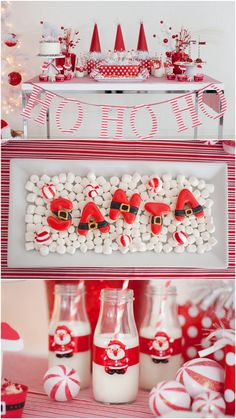 Darling red and white Christmas Party! Santa Cookies