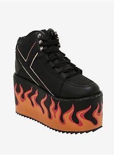 ee5eba2256c Y.R.U. Qozmo Flame Platform Sneakers. HotTopic. Rave ShoesGoth ...