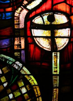Close up of one of the Knave Stained Glass Windows - new Coventry Cathedral - England: by John Piper and Patrick Reyntiens