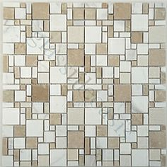 Kitchen Backsplash tiles: White & Tan Polished Marble Unique Shapes Cream/Beige Random Stone Series Polished Stone