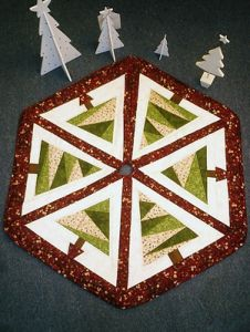 This foundation Pieced tree skirt has full size template in the pattern. It can be made as a tree skirt or a table centre if you do not make the hole in the centre. Looks brilliant when embellishments, e.g beads and buttons are added.This is ideal for beginners. Finished size 36″ point to point.