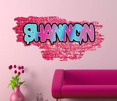 Personalized / Customized Name Graffiti Wall Decals Stickers Brick Pink Printed Mural Colour Adhesive Childrens Wall Decals, 3d Wall Decals, Removable Wall Stickers, Framed Wall Art, Wall Murals, Personalized Wall Decals, Graffiti Designs, Kids Play Area, Graffiti Wall