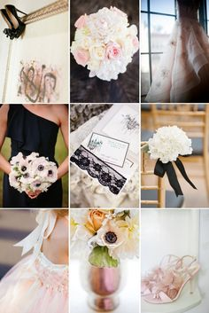 Blush, Ivory and Black add up to one dreamy #Wedding color palette. Don't you think? //going for it.
