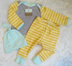 Gender neutral coming home outfit Two tone mustard stripes with mint accents//liltrendiesboutique