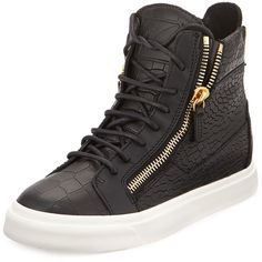 Giuseppe Zanotti Croc-Embossed Leather High-Top Sneaker ($640) ❤ liked on Polyvore featuring shoes, sneakers, giuseppe zanotti, schuhe, platform high tops, platform trainers, giuseppe zanotti sneakers, giuseppe zanotti shoes and platform lace up shoes
