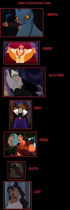Disney villains - Huh, who knew they represented the Seven Deadly Sins?