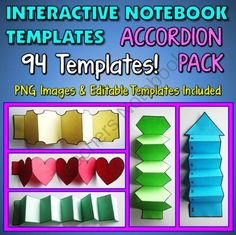 Interactive Notebook Templates - Accordion Pack - 94 Templates for Commercial and Personal Use from Tangstar Science on TeachersNotebook.com -  (94 pages)  - Interactive Notebook Templates - Accordion Pack - 94 Templates for Commercial and Personal Use