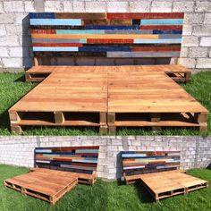 recycled pallet platform bed with painted headboard