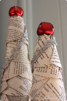 Hometalk :: DIY Book Page Christmas Trees