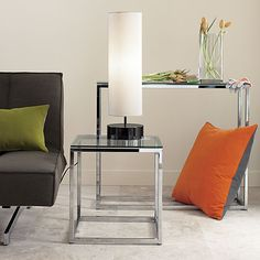smart glass top console table in accent tables | CB2