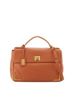 V2QZN Badgley Mischka Linda Pebbled-Leather Satchel Bag, Cognac