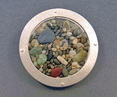 """Ann Jenkins New Zealand pebbles brooch - fine silver, sterling, glass, acrylic, pebbles 1.25"""" diameter"""