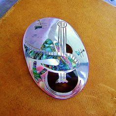 Vintage Sterling Silver Inlaid Mexico Pendant by SilverFoxAntiques, $65.00