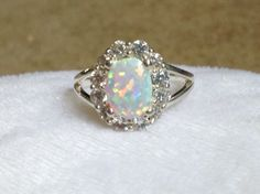 Valentine's Day! Fire Opal And White Topaz 925 stamp and Tested Ring