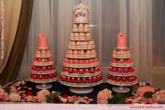 pink ombre wedding cupcake stands