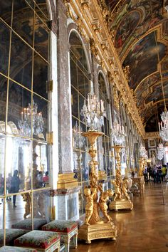 Palace of Versailles- This is the Hall of Mirrors. Truly stunning. Some of the mirrors function as doors. They were build that way to help the family escape if they were ever in danger.
